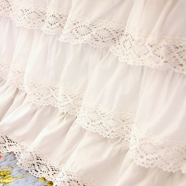 White Crochet Cotton Lace Ruffle Bed Skirt. Shabby Chic Dust Ruffle