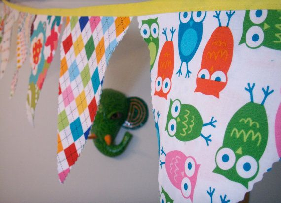 Bunting Flags  Bright Colors Fabric Pennants Owls Dots