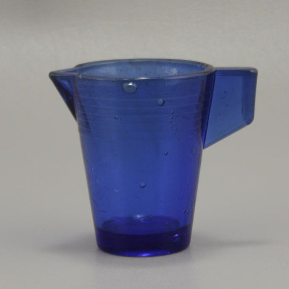 cobalt blue miniature toy pitcher akro agate glass vtg - Pitchers For Kids