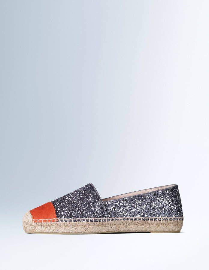 Espadrilles à paillettes bleu-gris et cuir orange Boden