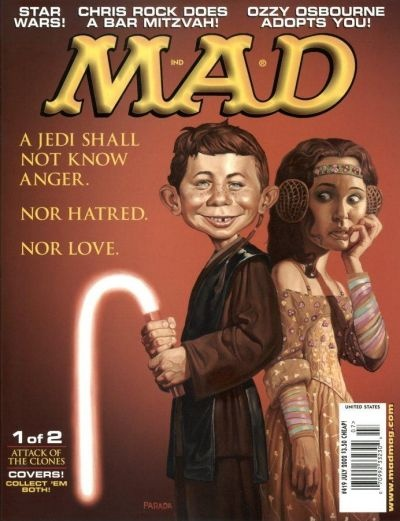 MAD magazine  This magazine cover, I want to talk about the colour scheme used. Gradients of browns ranging from warm to cool, also the use of other  colours, but its dominant colours are within the mid range of Yellow to Crimson. Having a overall colour scheme lets the mood of the illustration and allows you to get an overall flow of an illustration rather then having parts of the images working against the other. The subject matter itself is quite humorous.