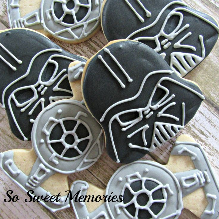 A personal favorite from my Etsy shop https://www.etsy.com/listing/262045766/24-sugar-cookies-darth-vader-tie-fighter