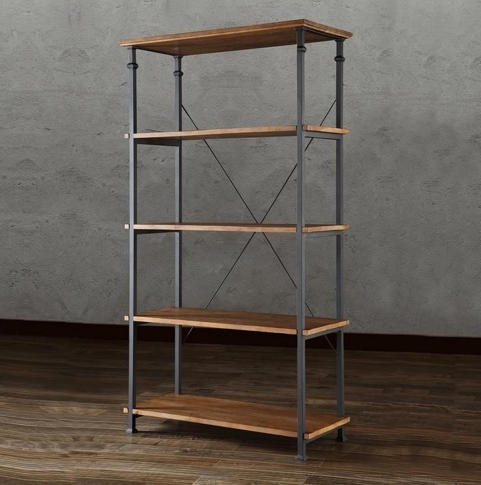 Solid Wood Bookshelf Reclaimed Look Wood Wrought Iron Rugged Industrial Bookcase #Notspecified