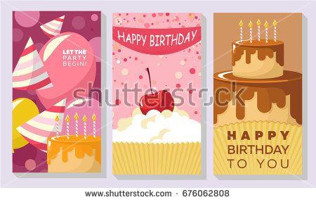 Birthday card vector set