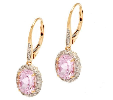 Premier 4.00 ct tw Oval Kunzite & 1/3cttw Diamond Earrings, 14K