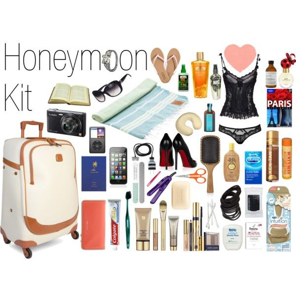 """""""Honeymoon Kit"""" by amabaker on Polyvore minus clothes: thongs (flip flops), insect repellent, sunglasses, towel, book, travel book, camera, Ipod, Phone, Charger, Passport, wallet, travel pillow, toothbrush, toothpaste, dental floss, make up, make up wipes, lip balm, emery board, tweezers, nail scissors, mini hair-straightener, Moroccan oil, brush, hair elastics, soap, deodorant, q-tips, razor, fake tan, sunscreen, sensual shower gel, condoms, massage oil, perfume, lingerie, personal…"""