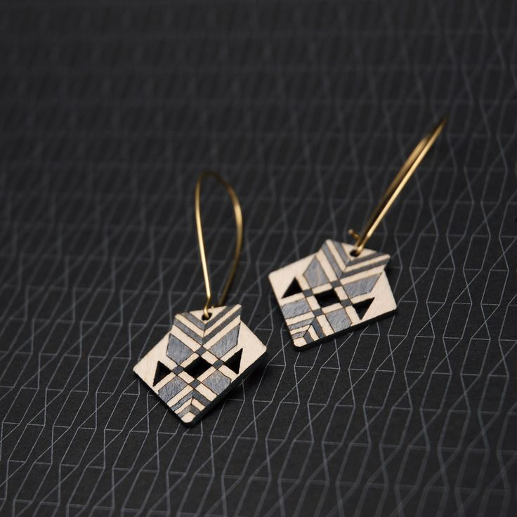 Sustainable, Australian made Birch earrings, hand-painted in an Aztec inspired, chevron pattern.Materials: Sustainably harvested Birch cut using green power, Raw Brass (Lead and Nickel free)...