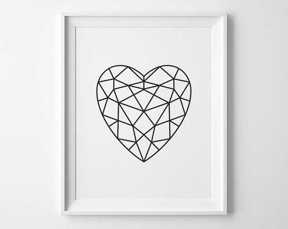 Black Heart Print, Modern Bedroom Decor, Minimalist Art, Faceted Heart Art, Geometric Art, Black and White Modern Bedroom Art