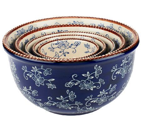 Temp-tations Floral Lace 5-Piece Concentric Bowl Set in Cobalt Blue <3 !!!!