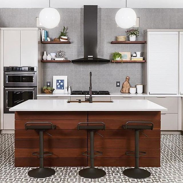 Funky Kitchen Design: Patterned Floor + Caesarstone Countertops + Floating  Shelves, By Design Lil