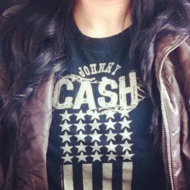 johnny cash tee + leather jacket.