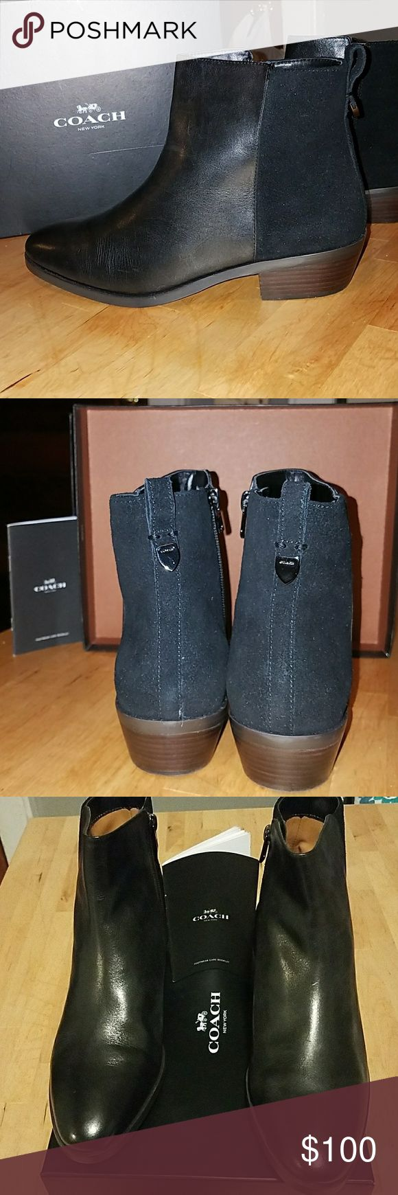 Brand New! COACH Leather Booties Coach shoes have a modern appeal and never compromise fit or quality. These boots are perfect for your busy lifestyle. The boots feature a small heel and are made of  leather and suede. They are brand new in box, never worn. Side zipper closure Coach Shoes Ankle Boots & Booties