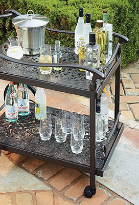 New Orleans French Quarter architecture inspired outdoor bar cart. Powder coated cast aluminum with scroll pattern.