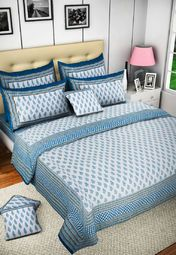 Truhome Block Print Double Bedsheet With 2 Pillow Covers Online Shopping Store