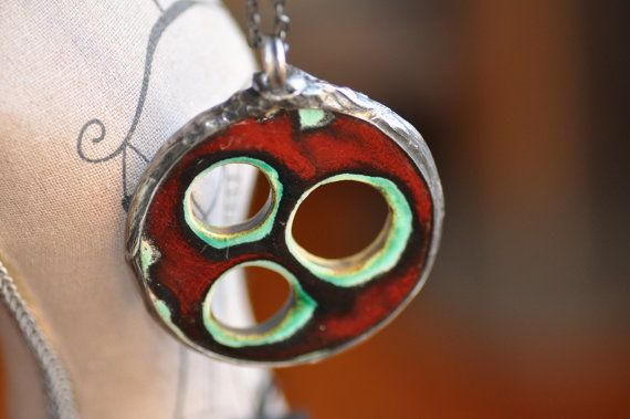 ceramic necklace double-sided boho jewelry ceramic  by zolanna