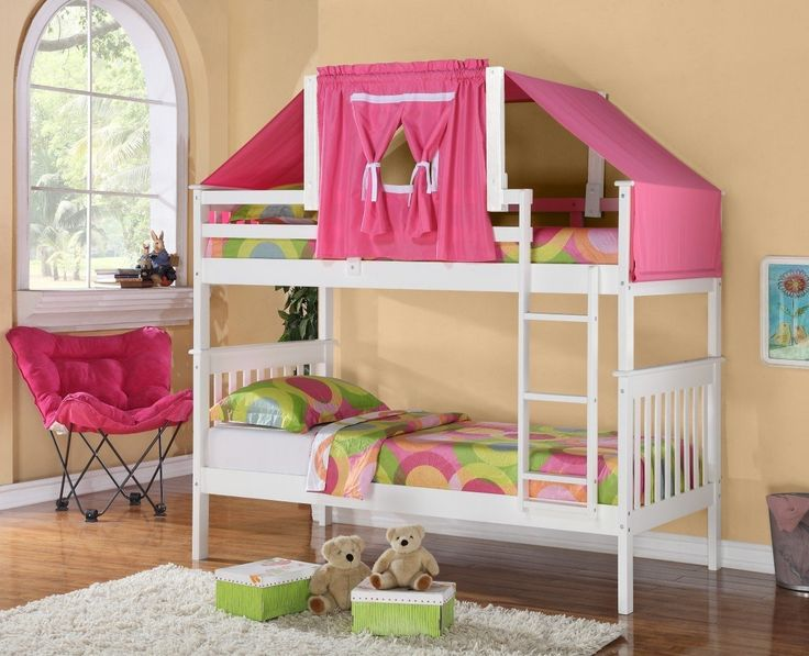 Girls Bunk Beds with Pink Tent