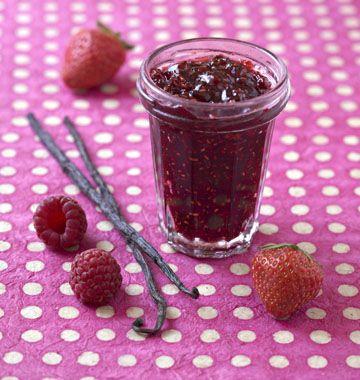 Confiture fraises, framboises, vanille - Recettes de cuisine Ôdélices