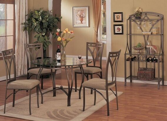 5 Pc Metal And Glass Dining Room Table Set In A Bronze Metal Finish. This  Set Comes With The Table And 4 Side Chairs And Has An Optional Wine Rack.