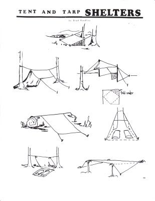 Wilderness Survival Skills Blog: Tarp Shelters.  Post 52 always used this type of tentage for our Philmont treks!  Light and easy.