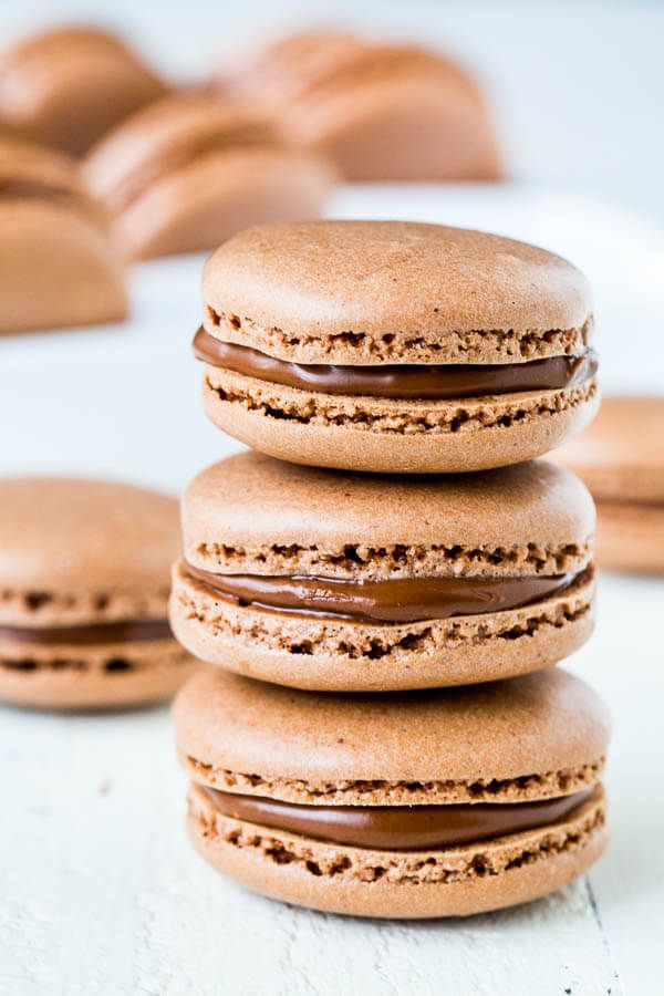 ~ Sea Salt Chocolate Macarons ~ These chocolate macarons sprinkled with coarse sea salt are ultimate heaven for chocoholics! With step-by-step photos...