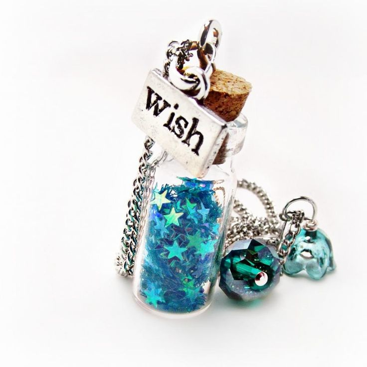 Wishing Star Necklaces- Blue Necklace-Star Necklace-Glitter Necklace-Wish Necklace-Bottle Necklace-Blue Jewelry-Summer Jewelry
