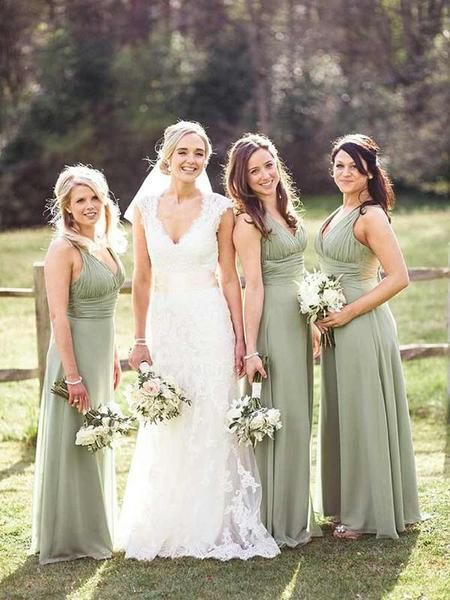 Simple A-line V-neck Sleeveless Chiffon Long Bridesmaid Dresses, FPWG163