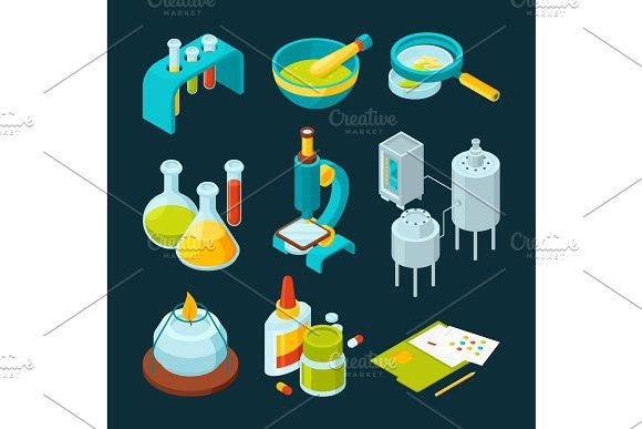 Pharmaceutical and chemical industry isometric illustrations #chemical #research