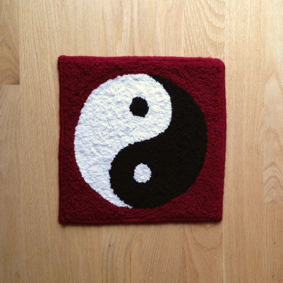 Hand Hooked Yin Yang Wall Hanging Oneness By RamalaDesigns On Etsy