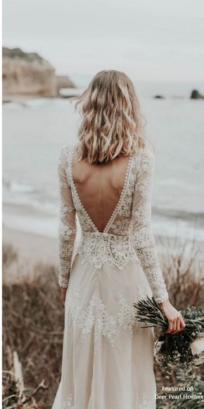 Lisa – Cotton Lace with Open Back Bohemian Wedding Dress #weddings #dresses #weddingdresses – Felicity