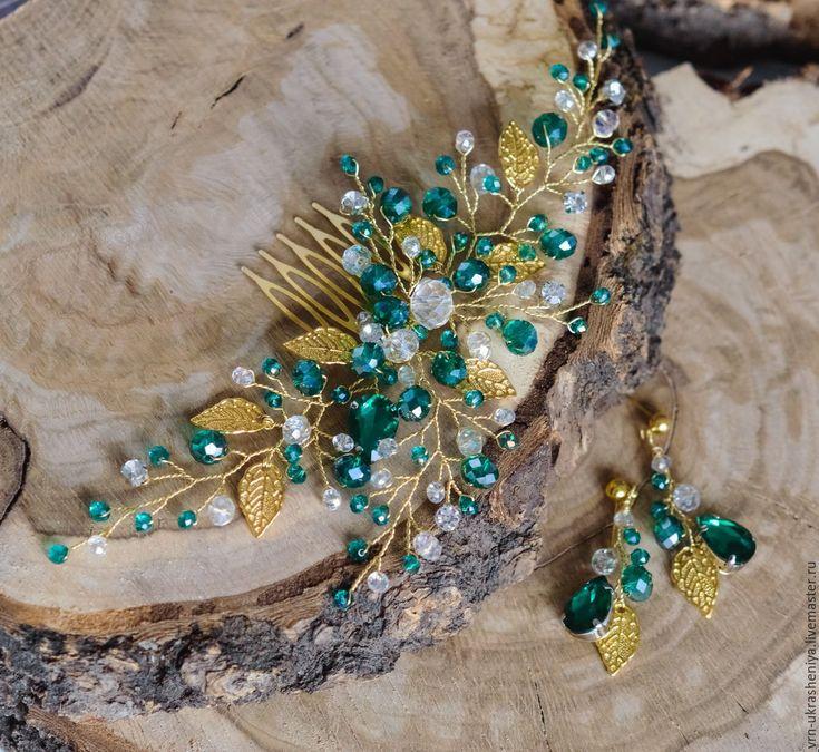 Купить Изумрудный гребень для свадебной прически - тёмно-зелёный, изумрудный, зеленый, золото, золотой, листики