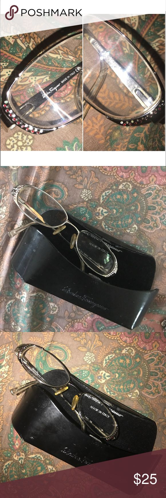 Salvatore Ferragamo red rhinestone enameled frame Rhinestones and enameled in red highlights are these vintage gold frames. Made in Italy. Great condition. Ferragamo Accessories Glasses