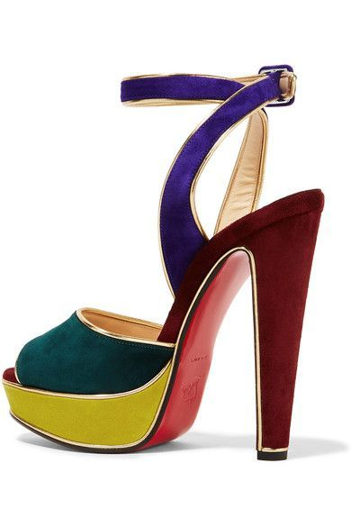 Heel measures approximately 140mm/ 5.5 inches with a 30mm/ 1 inch platform Multicolored suede Buckle-fastening ankle strap Made in Italy