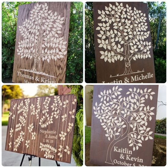 Looking for a guest book tree for your wedding? We have plenty of carve trees to choose from! Come stop by!