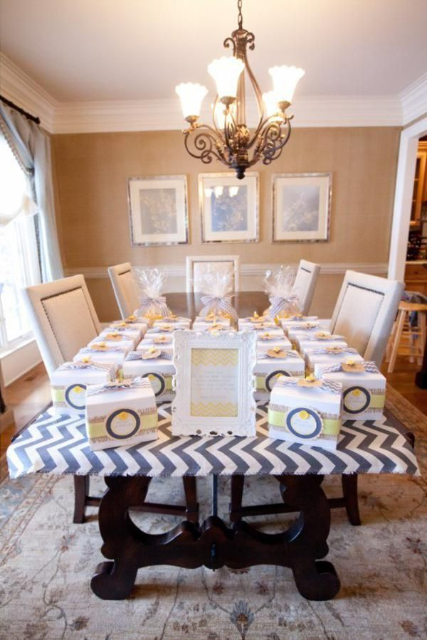 silver and yellow chevron theme baby shower | You are my Sunshine Summer Gender Neutral Baby Shower Planning Ideas