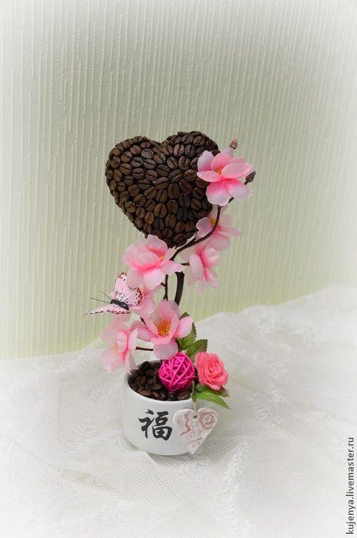 """Топиарии ручной работы. Ярмарка Мастеров - ручная работа. Купить Топиарий валентинка """"Восточная нежность"""". Handmade. Розовый, кофейное дерево"""
