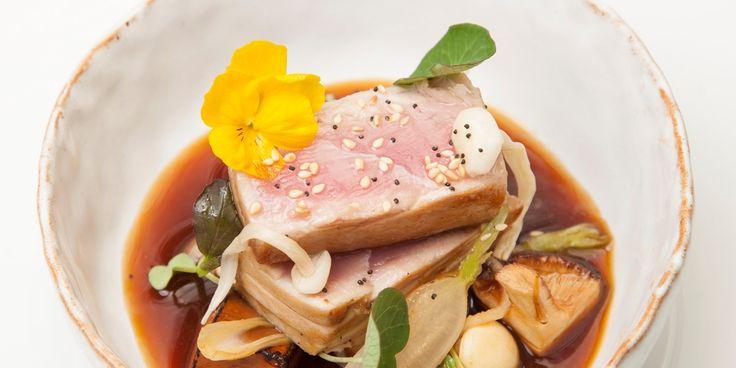 Seared Tuna with Tofu, Miso, and Edible Flowers