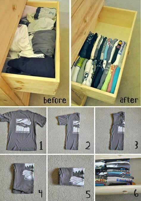 How to fold a t shirt to save space in drawers home for T shirt drawer organization