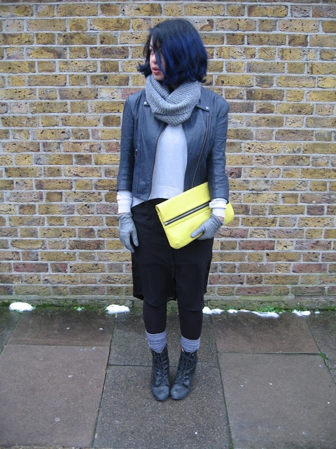#fashion # blogger #streetstyle, Theysken's Theory jacket, Kurt Geiger neon clutch