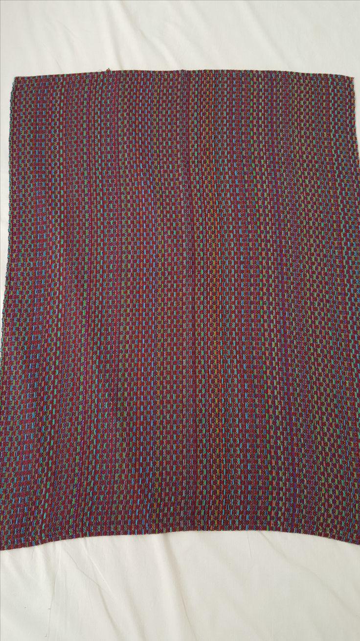 1091 - handwoven throw in stunning warm palette.  104 x 80 cms.