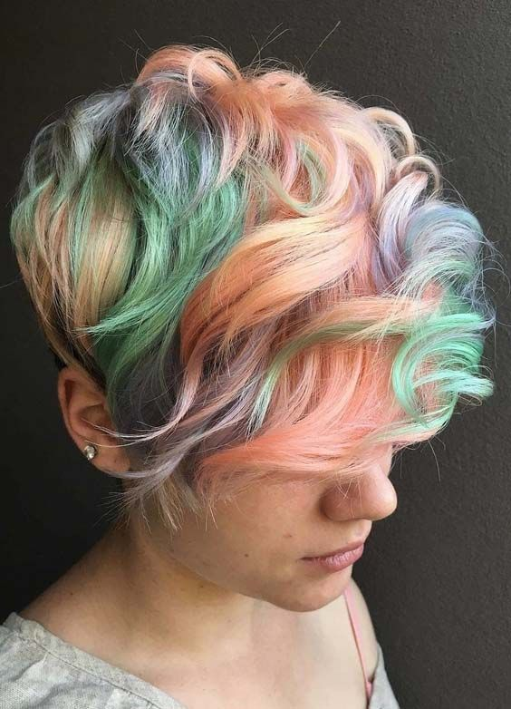28 Gorgeous Pastel Hair Color Trends for Short Pixie Hair 2018