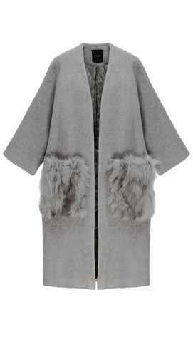 real fox fur enlarged patch pocket oversized open style grey alpaca coat