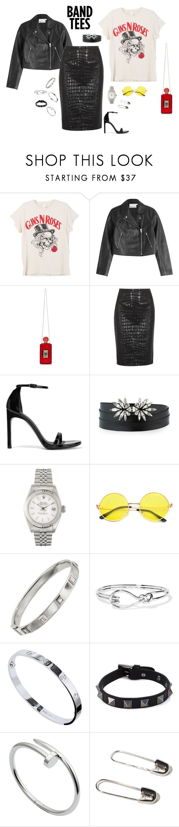 """Band Tee"" by marketazemanova ❤ liked on Polyvore featuring MadeWorn, T By Alexander Wang, Charlotte Olympia, Moschino Cheap & Chic, Stuart Weitzman, Auden, Rolex, Shay, Noir Jewelry and Cartier"