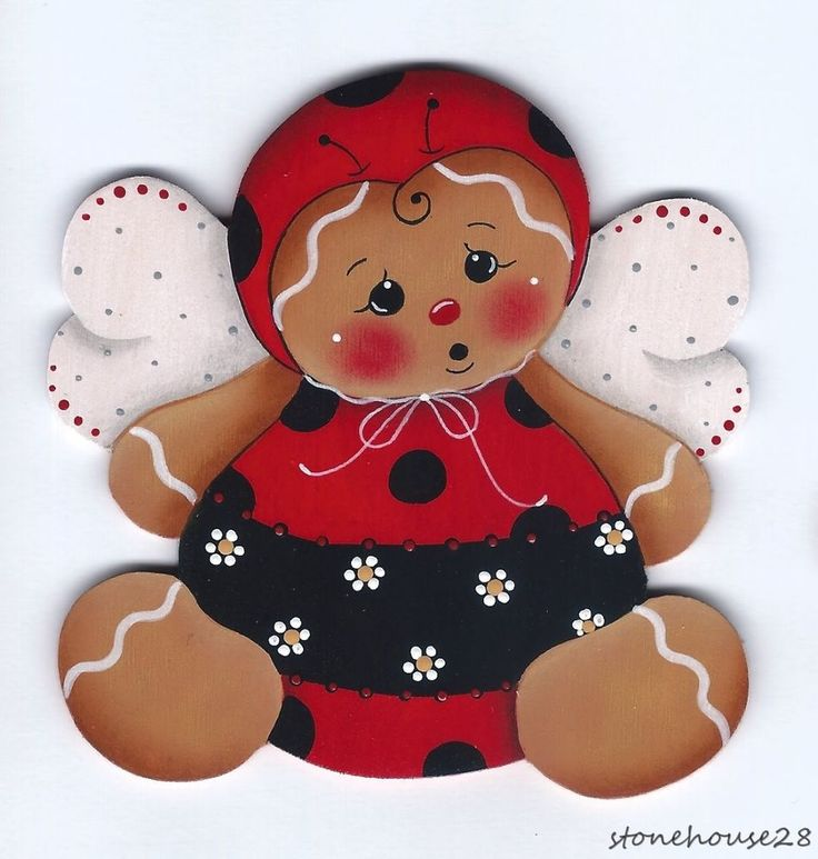 HP GINGERBREAD Ladybug FRIDGE MAGNET #Handpainted