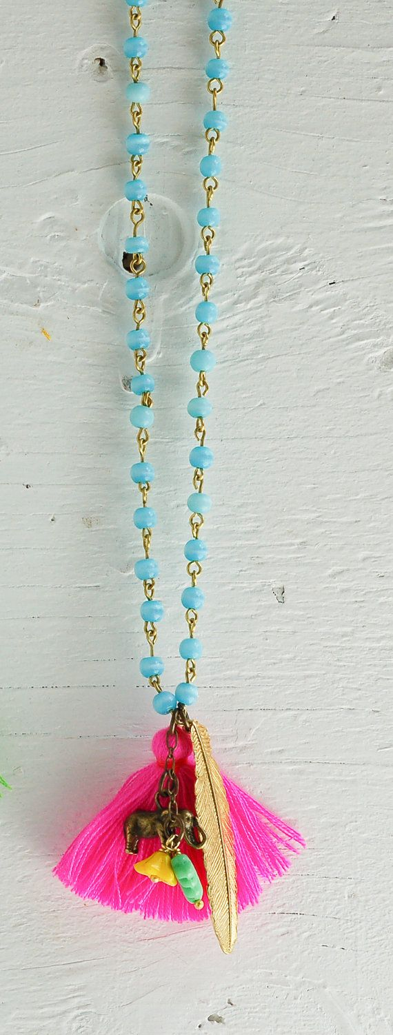 Aqua Bead  & Pink Tassel Necklace Neon PINK $58