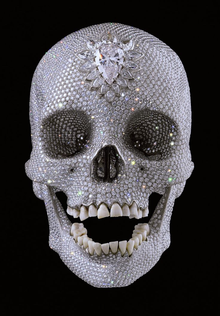 For the Love of God by Damien Hirst, produced in 2007. It is made from platinum, human teeth and 8,601 flawless diamonds. The piece valued at £50 million.