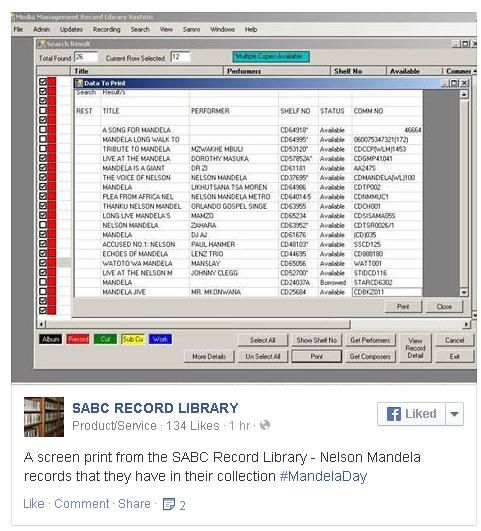 Nelson Mandela records in the SABC Record Library - a screen print shared on @SABCRecordLib Facebook Page for Mandela Day #MandelaDay