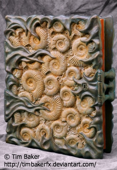 fossil book sculpture tim baker fx artist hollywood california via deviantart