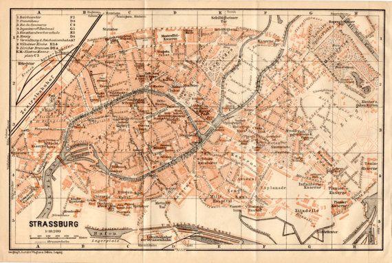 1909 Strasbourg, France, Straßburg , Alsace, Bas-Rhin, Lower Rhine, Elsass, European Parliament, Antique German Map