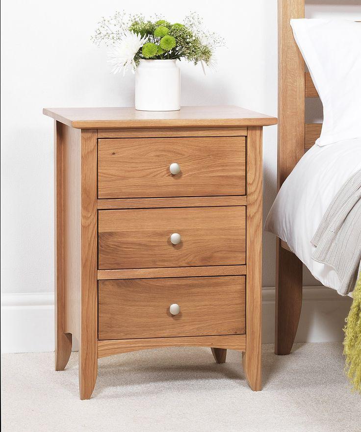 Edward Hopper oak bedside table (3 drawer), ASSEMBLED