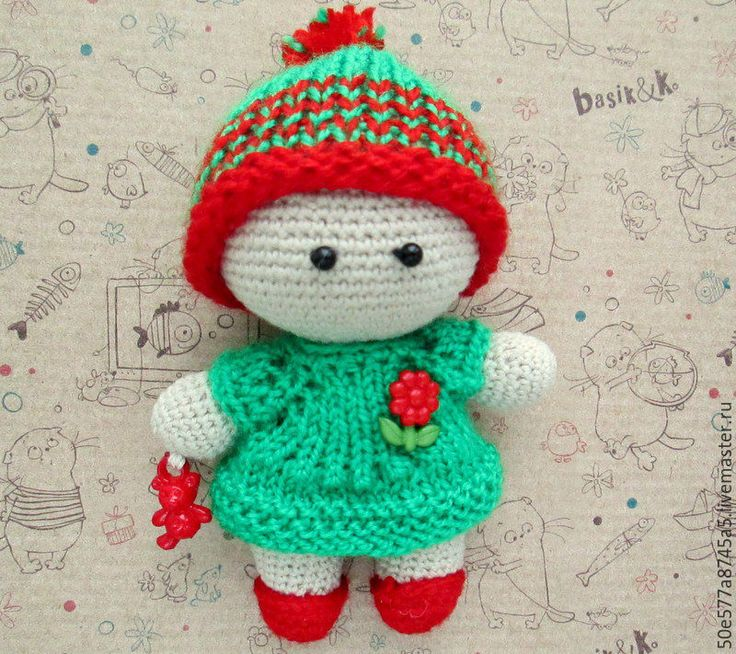 Купить Пупс Йо йо девочка дюймовочка (игрушка вязаная , подарок ) - ярко-зелёный